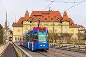 BERN, SWITZERLAND - FEBRUARY 15: Be 4-10 tram on Kirchenfeldbruc — Stock Photo