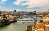 View of Porto with the Dom Luis Bridge - Portugal — Stock Photo