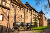 Cart with barrels at Riquewihr - Alsace, France — Stock Photo