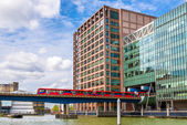 Docklands Light Railway in Canary Wharf business district of Lon — Stock Photo