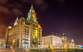 The Royal Liver, the Cunard and the Port of Liverpool Buildings — Stock Photo