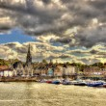View of Newhaven Harbour in Edinburgh - Scotland — Stock Photo #77330544
