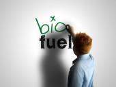 Bio fuel. Boy writing on a white board — Stock Photo