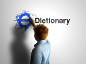 E-Dictionary. Boy writing on a white board — Stockfoto