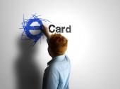 E-Card. Boy writing on a white board — Stock Photo