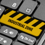 Industrial Zone. Yellow warning key on computer keyboard — Stock Photo #55639407