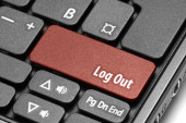 Log Out. Red hot key on computer keyboard — Stock Photo