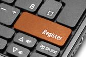 Register. Orange hot key on computer keyboard — Foto de Stock