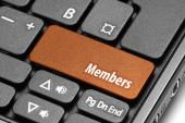 Members. Orange hot key on computer keyboard — Stock Photo