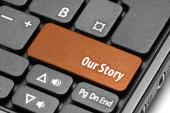 Our Story. Orange hot key on computer keyboard — Stock Photo