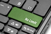 No Limit. Green hot key on computer keyboard — Stock Photo