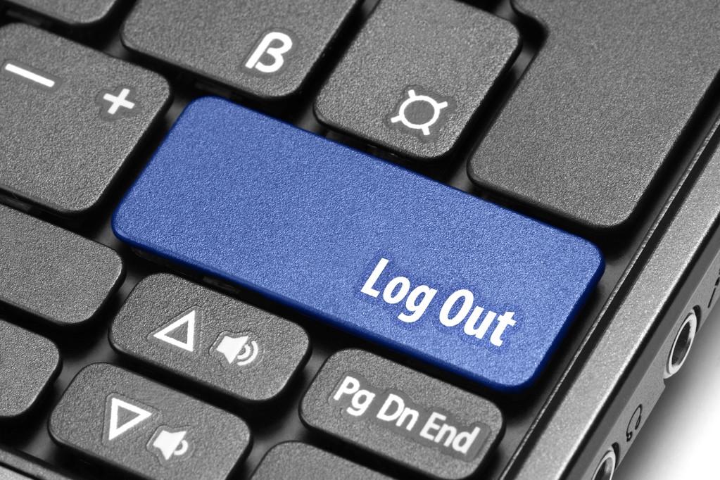 Log Out. Blue hot key on computer keyboard — Stock Photo