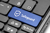 Safeguard. Blue hot key on computer keyboard. — Stock Photo