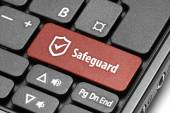 Safeguard. Red hot key on computer keyboard. — Stock Photo