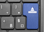 Go to Washington D.C.!. Blue hot key on computer keyboard. — Stock Photo