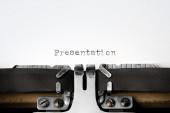 """Presentation"" written on an old typewriter — Stok fotoğraf"