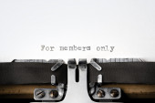 """""""For members only"""" written on an old typewriter — Stockfoto"""