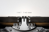 """Small Business"" written on an old typewriter — Foto de Stock"