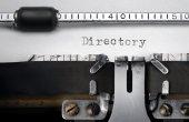 """Directory"" written on an old typewriter — Stok fotoğraf"