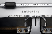 """Interview"" written on an old typewriter — Foto de Stock"