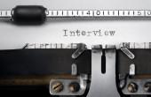 """""""Interview"""" written on an old typewriter — Stok fotoğraf"""