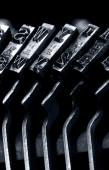 Old typewriter. Typebars closeup. — Stock Photo