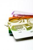 Zestaw kart kredytowych na białym tle — Zdjęcie stockowe