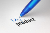 My product, written on white paper — Stockfoto