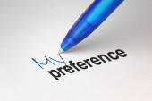 My preference, written on white paper — Stock Photo