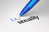 My sexuality, written on white paper — Stockfoto