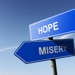 Hope and Misery directions.  Opposite traffic sign. — Stock Photo #55834613