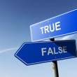 True and False directions.  Opposite traffic sign. — Stock Photo #55834699