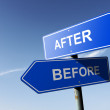 After and Before directions. Opposite traffic sign. — Stock Photo #55835095