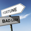 Fortune and Bad luck directions. Opposite traffic sign. — Stock Photo #55838997