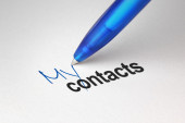 My contacts, written on white paper — Stockfoto