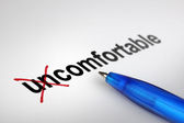 Changing the meaning of word. Uncomfortable into Comfortable. — Stockfoto