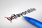 Changing the meaning of word. Unfavorable into Favorable. — Stock Photo