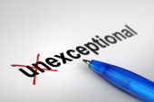 Changing the meaning of word. Unexceptional into Exceptional. — Stock Photo