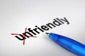 Changing the meaning of word. Unfriendly into Friendly. — Stockfoto