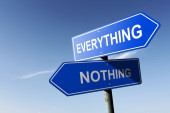 Everything and Nothing directions.  Opposite traffic sign. — Stock Photo