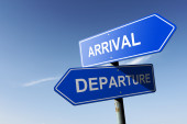 Arrival and Departure directions.  Opposite traffic sign. — Stock Photo