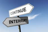 Continue and Interrupt directions.  Opposite traffic sign. — Stock Photo