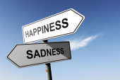 Happiness and Sadness directions.  Opposite traffic sign. — Stock Photo