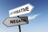 Affirmative and Negative directions. Opposite traffic sign. — Stock Photo