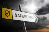 Safeguard direction. Yellow traffic sign with cloudy sky in the background. — Stock Photo