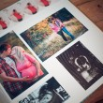 Photo album with family photos during pregnancy — Stock Photo #53541489