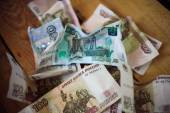 Crumpled Russian rubles — Foto Stock