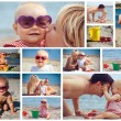 Collage portrait of happy family on the sea — Stock Photo #59865733
