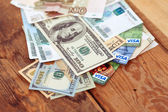 YALTA, CRIMEA, RUSSIA - DECEMBER 27, 2014: US dollars bills ,rus — Stock Photo