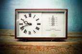 Old clock and barometer — Stock Photo